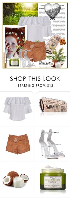 """ROSEGAL:Bell Sleeve Stripe Off The Shoulder Top"" by astromeria ❤ liked on Polyvore featuring Charlotte Olympia, Cotton Candy, Giuseppe Zanotti, Fresh and Stila"