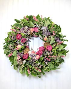Floral Wreath Wall Decor Natural Dried by summersweetboutique