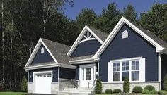 dark blue house with white porch and trim | Digging the Dark Blue with white trim