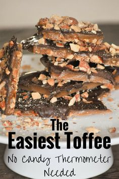 Easy Homemade Toffee- No Candy Thermometer Needed!- Easy Homemade Toffee- No Candy Thermometer Needed! This is the easiest toffee recipe out there. Homemade candy can be scary, but not this recipe. It has an almond roca taste. Saltine Toffee, Toffee Bark, Toffee Candy, Toffee Cookies, Toffee Dip, Toffee Popcorn, Milk Toffee, Toffee Sauce, Sticky Toffee