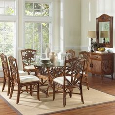 Bay Isle Home Cypress 7 Piece Dining Set Fabric: SNS Somerset Bota Mist