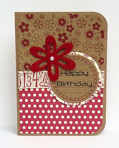 kraft card for a birthday ... red & white papers and accents ... like the  twill tape with numbers ...