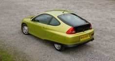 Spats and chopped-off tail aid aerodynamics Honda Insight, Mk1, Electric Cars, Time Travel, The Originals, Ideas, Thoughts