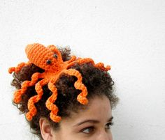 Octopeep Fascinator Hair Clip. Tentacle. Headpiece. Biology Zoology Geek. Whimsical. Odd. Nerdy. Playful. Octopus. Orange. on Etsy, $21.75