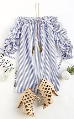 Off Shoulder Ladies Long Sleeve Casual Stripes Mini Dress Komplette Outfits, Spring Outfits, Casual Outfits, Fashion Outfits, Womens Fashion, Fashion Trends, Spring Dresses, Spring Clothes, Ladies Fashion