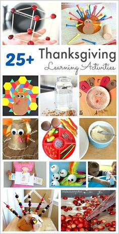 Thanksgiving Themed Learning Activities for Kids: Thanksgiving and turkey themed math activities, Thanksgiving reading activities, sensory play and more! Educational Activities For Kids, Creative Activities, Kindergarten Activities, Reading Activities, Kindergarten Classroom, Stem Activities, Classroom Activities, Science Experiments Kids, Science For Kids