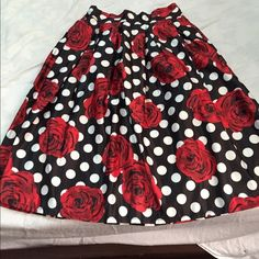 Beautiful polka dots with red flowers, SALE!!! Medium polka dots with red flowers prints, elastic at the back, up to the nee Dresses
