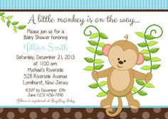 Monkey Baby Shower Invitation Personalized por afairytalebeginning