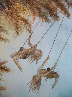 "this is an original watercolor painting of two girls on swings in the trees.this painting is done in shadowy golden tones. it measures 8.5""x11.5"". no mat, unframed."
