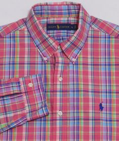 MINT-Mens-RALPH-LAUREN-L-S-Shirt-LARGE-Multi-Color-Shadow-Plaid-POLO-Cotton