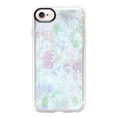 Vintage pastel pink lavender teal floral stripes - iPhone 7 Case And... ($40) ❤ liked on Polyvore featuring accessories, tech accessories, iphone case, vintage iphone case, apple iphone case, iphone cover case, teal iphone case and floral iphone case