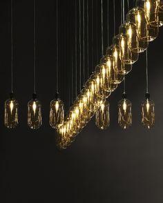 Amp Lamp in gold/green designed by Simon Legald Copenhagen, Chandelier, Ceiling Lights, Lighting, Green, Holiday, Gold, Furniture, Decor