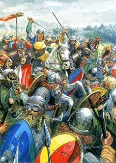 Carolingian cavalry attacks the system of the Vikings ""