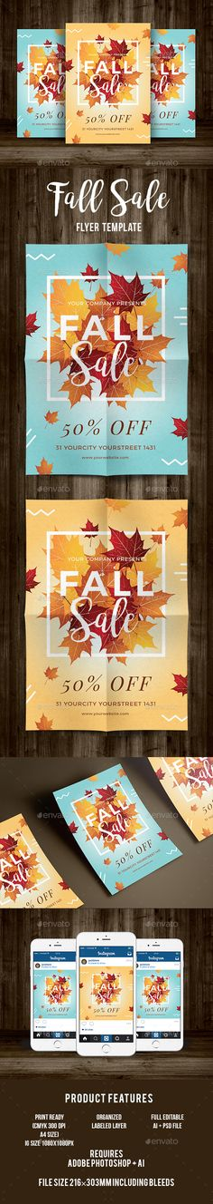 Autumn Fall Flyer Bundle by DesignWorkz on @creativemarket Flyer - fall flyer