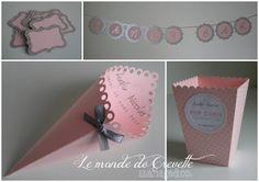 Boite dragées, contenant dragées, cornet dragées, étiquette, bannière, rose, ruban, gris