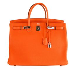 HERMES BIRKIN BAG 40CM ORANGE TOGO PHW HAMPTONS MUST HAVE ❤ liked on Polyvore featuring bags, handbags, hermes, bolsas, purses, handbags & purses, hermes handbags, hermes bag, orange handbags and orange purse
