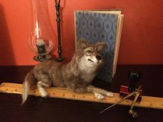 Whimsical  needle felted Wolf  by The Beth, handmade wild animal decor, 12 inches, poseable by artbythebeth on Etsy