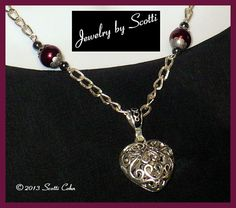 Filigree Heart Necklace // Pewter Pendant // Hematite // Silver Chain // Burgundy Pearls // Crystals // Goth // Valentines Day Custom Sized