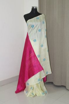 Dupion pure raw silk saree with block print