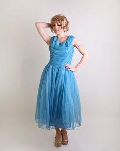 Vintage 1950s Prom Dress Sky Blue Tulle Kerrybrooke by zwzzy