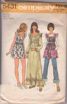 MOMSPatterns Vintage Sewing Patterns - Simplicity 5431 Vintage 70's Sewing Pattern SWELL Boho Babydoll Pinafore Look Rick Rack Trim Smock Top, Mini Dress, Maxi Gown