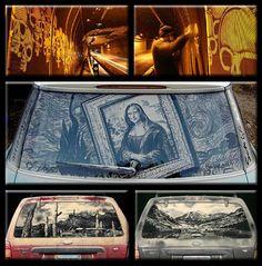 Dirty Car Art Car Artwork by Scott Wade- Mona Lisa - Starry Night: Peak Reverse Graffiti, Art Bizarre, Weird Art, Car Art, Art Ninja, Mona Lisa, Urban Street Art, Urban Art, Car Drawings
