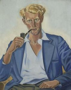 "Rita Angus (NZ 1908-1970), Portrait of Douglas Angus, o/c, 1940. Douglas Angus arrived in Christchurch for a rowing tournament, disappointed to be billeted with his big sister Rita. His attitude changed: ""I suddenly saw walking up the platform this most striking person ... it was Rita. I was absolutely amazed ...."" A friend watched Rita paint him: ""His hair is the most wonderful colour, yellow gold, & Rita has got it perfectly. There is a very great warmth in the whole work."" Pvt. coll."