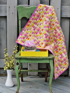 Use fabric with a repetitive pattern to guide your quilting.