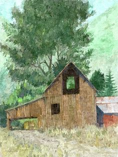 """""""Country Barn"""" Digital art by Dilectus Rex. A classic style old wood barn sits in the rural landscape on some farm in the country backed by trees and hills in this idyllic summer scene. This image started out as a charcoal drawing that was then hand colored digitally and then run through a digital painting program. #dilectusrex"""