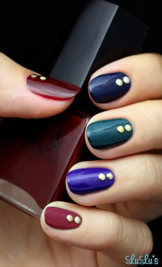 Jewel Tone Nail Tutorial #nails #nailart #beautyinthebag