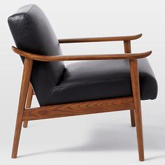 Buy west elm Mid-Century Leather Show Wood Chair, Nero Leather/Pecan Online at johnlewis.com