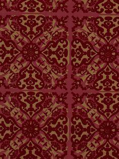 ... 3042   Paola's Spanish Tile Flock velvet Wallpaper - Burgundy Red/Gold