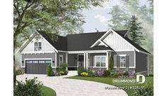 Version couleur no. 2 - Vue avant du plan de maison unifamiliale 3246-V1