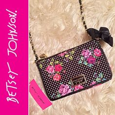 "BETSEY JOHNSON E/W Floral Polka Dot Crossbody! Here I have is a cute BETSEY Johnson New York east/west floral polka dot crossbody bag! NWT.,at the front of the purse will have a flap that opens to a card slots & clear ID holder, with a large slip compartment, magnetic closeure,dimensions: (8""Wx5.5""Hx2""D) strap length 48"" with a 24""strap drop.,will only consider REASONABLE offers, others will be declinedBUNDLE 3+clothing items & save 15%❌NO TRADES❌Thank You Betsey Johnson Bags Crossbody Bags"