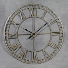 extra large metal skeleton wall clock silver hu0026h