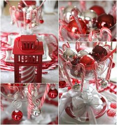unique christmas red white colors theme party candy cane theme table decorations
