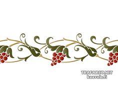 Виноградный бордюр 47 (трафарет, малая картинка)
