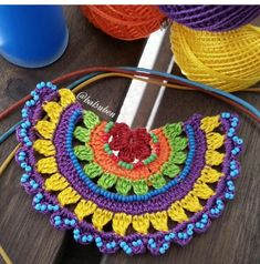 rope + crochet + bead + leather cord = knitting lover's knit necklace😊 nice to reme Crochet Mandala Pattern, Form Crochet, Cute Crochet, Crochet Stitches, Knit Crochet, Crochet Bracelet, Crochet Earrings, Knitting Patterns, Crochet Patterns