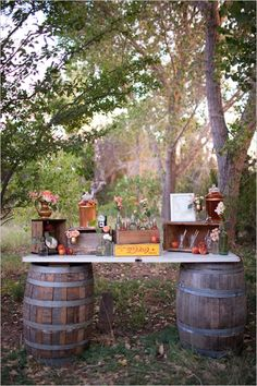 rustic drink station | M. Felt Photography | Swoon Vintage Rental Co.