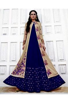 Blue And Beige Embroidered Georgette Anarkali Gown Ethinic Wear, Ethnic Gown, Anarkali Gown, Gowns Online, India, Beige, Stylish, How To Wear, Shopping