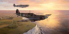 """The Toby Spitfires"" by Mark Postlethwaite  -  Supermarine Spitfires of 303 (Polish) Squadron on coastal patrol in autumn 1941"