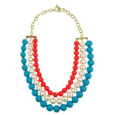 Pea Pod Paper and Gifts Aqua, Pearl, and Pink Triple Candy Necklace -This necklace is the PERFECT PREPPY piece to add to your jewelry collection!