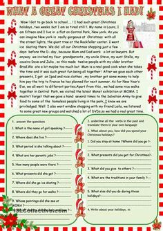 Students read and do the comprehension exercises on the theme of Christmas holidays and a revision of past simple tense - ESL worksheets
