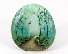 Forest road Original oil painting on a stone. Free by KhachikYana