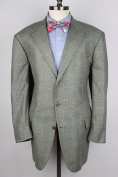 SOUTHWICK Mint Green Plaid Wool Blend 46 L mens Sport Coat Blazer #Southwick #ThreeButton