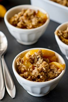Peach Crisp – Fresh, juicy peaches are topped with oats, brown sugar and pumpkin pie spice to create this delicious dessert. It's perfect with a scoop of vanilla ice cream or a dollop of whipped cream.