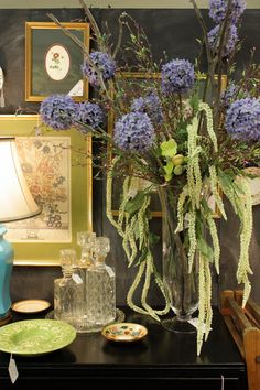 Sweet Something Designs: Little black dresser set with purple flowers. Lovely! | sweetsomethingdesign.blogspot.com