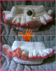 Crochet diaper cover - photo only - no link to pattern. Baby Girl Crochet, Crochet Baby Clothes, Crochet Shoes, Knit Or Crochet, Crochet For Kids, Crochet Crafts, Crochet Projects, Baby Patterns, Crochet Patterns