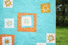 Aqua and Tangerine Stars Quilt | Flickr - Photo Sharing!