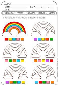 ATIVIDADE PRONTA - SEQUÊNCIA DE CORES Preschool Writing, Kindergarten Activities, Learning Activities, Preschool Activities, Sensory Activities Toddlers, Kids Math Worksheets, Baby Learning, Math For Kids, Kids Education